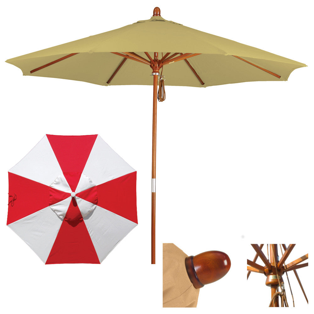 9 Foot Sunbrella Fabric Marenti wood Patio umbrella with pulley, Alternating Panels
