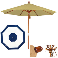 9 Foot Sunbrella Fabric Marenti wood Patio umbrella with pulley, Edge Design