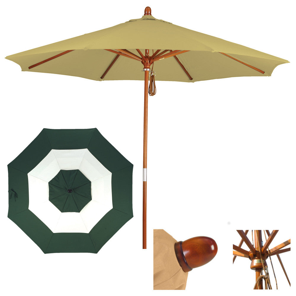 9 Foot Sunbrella Fabric Marenti wood Patio umbrella with pulley, Middle Accent