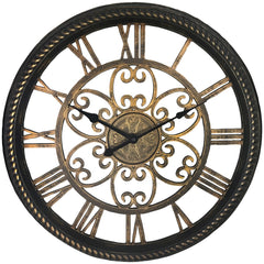 "Westclox 19.5"" Wall Clock With Antique Black And Gold Finish"