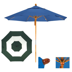 11 Foot Sunbrella Fabric Pulley Open Wood Patio Umbrella, Middle Accent