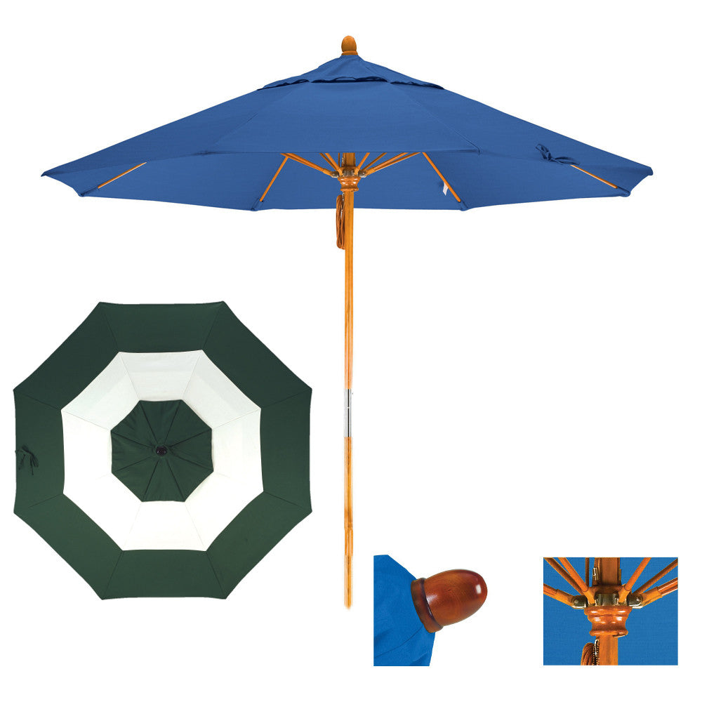 9 Foot Sunbrella Fabric Pulley Open Wood Patio Umbrella, Middle Accent