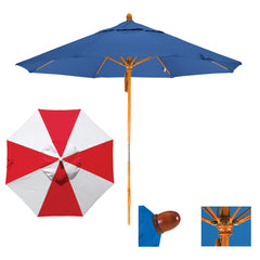 9 Foot Sunbrella Fabric Pulley Open Wood Patio Umbrella, Alternating Panels