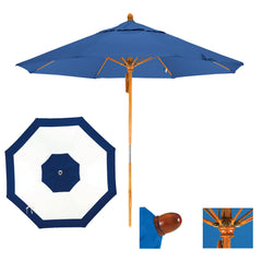 9 Foot Sunbrella Fabric Pulley Open Wood Patio Umbrella with Fiberglass Ribs, Edge Design