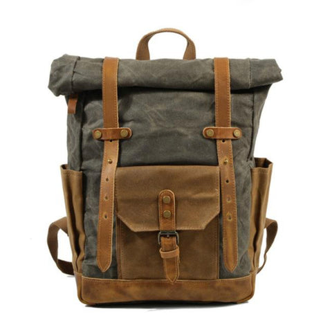 ROLL UP WAXED CANVAS RUCKSACK - DARK GREEN