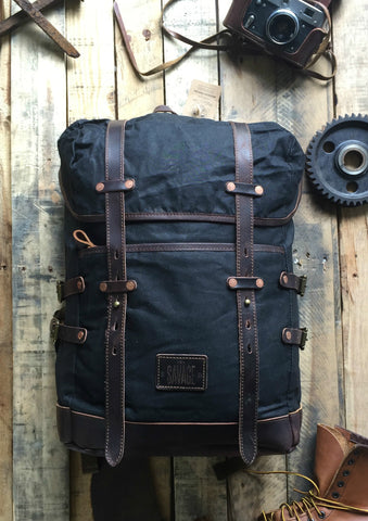 BLAKE  -  ADVENTURE WAXED CANVAS BACKPACK BLACK