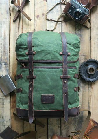 BLAKE - ADVENTURE WAXED CANVAS BACKPACK GREEN
