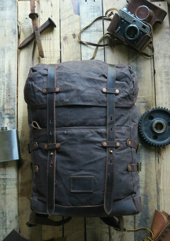 BLAKE  -  ADVENTURE WAXED CANVAS BACKPACK BROWN