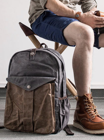 TWO-TONE WAXED CANVAS BACKPACK