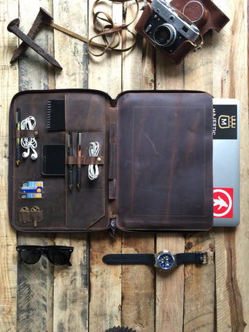 "LEATHER PORTFOLIO FOLDER - MACBOOK 13"" DOCUMENT ORGANIZER"