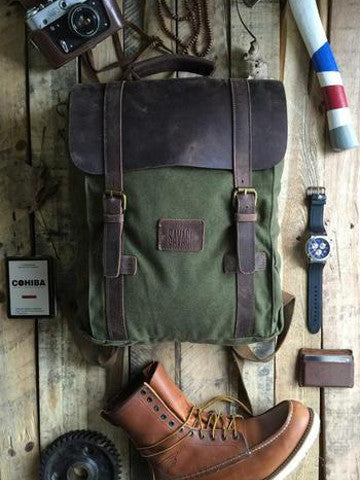 LEO - GREEN CANVAS BACKPACK