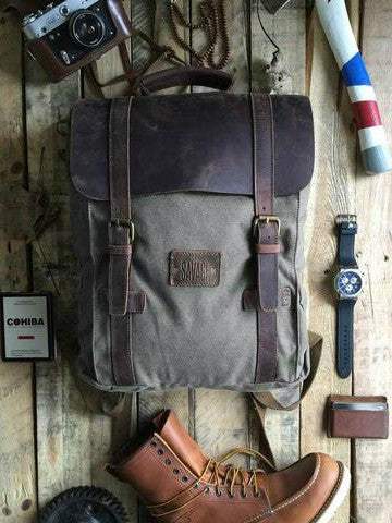 LEO - GREY CANVAS BACKPACK