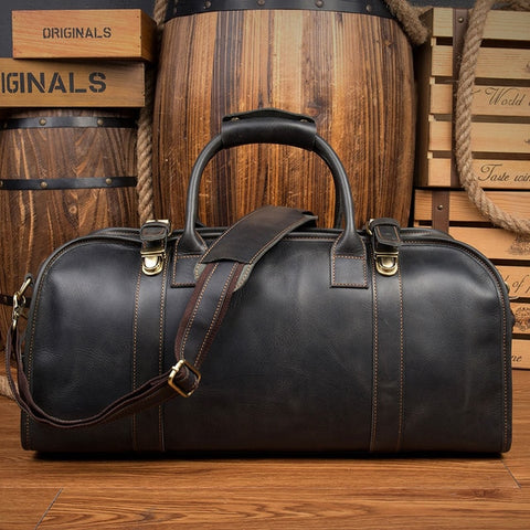 VINTAGE TRAVEL LEATHER DUFFLE BAG NO.33