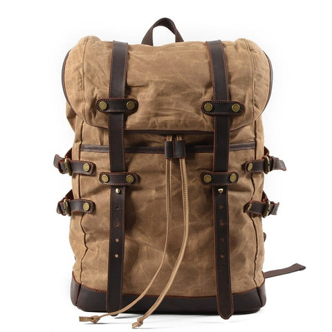 BLAKE - ADVENTURE WAXED CANVAS BACKPACK - KHAKI