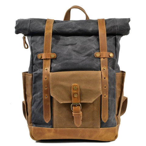ROLL UP WAXED CANVAS RUCKSACK - DARK GREY