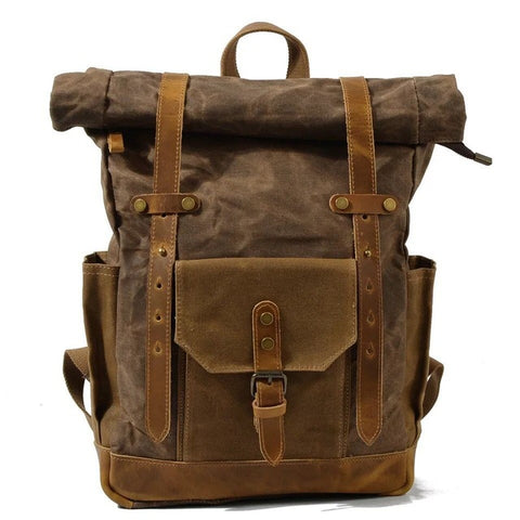ROLL UP WAXED CANVAS RUCKSACK - BROWN