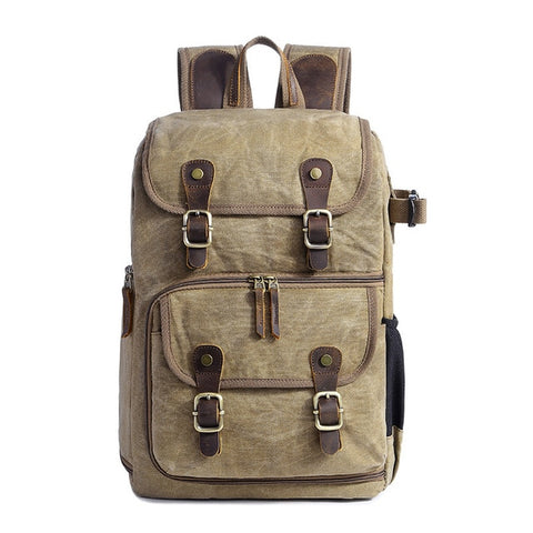WAXED CANVAS CAMERA BACKPACK NO. 16 - KHAKI