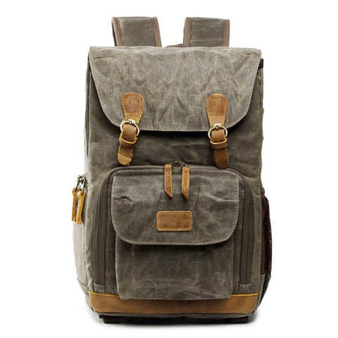WAXED CANVAS CAMERA BACKPACK NO. 13 - GREEN