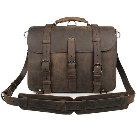 1902 SADDLE LEATHER BRIEFCASE SATCHEL - BROWN