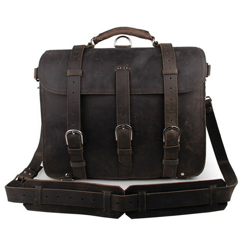 1902 SADDLE LEATHER BRIEFCASE SATCHEL - ESPRESSO