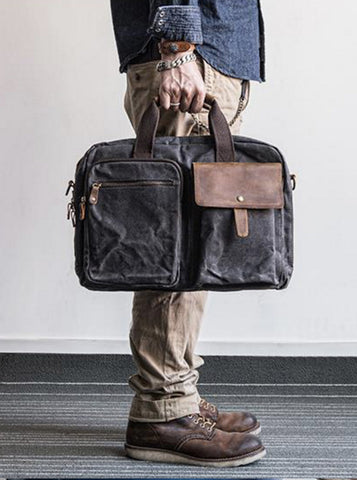 MENS WAXED CANVAS MESSENGER BAG NO.21