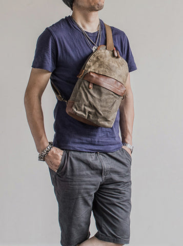 MENS WAXED CANVAS DAY BAG