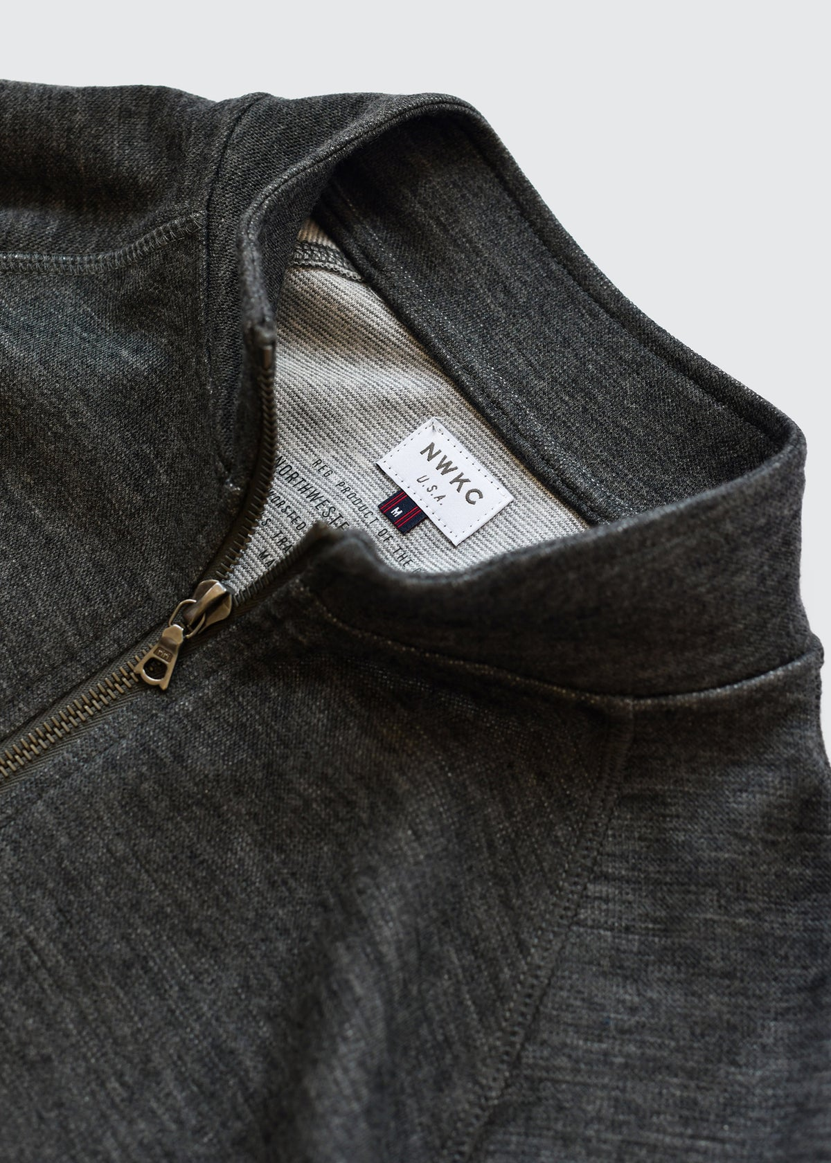 009 - SHORT COLLAR ZIP - CHARCOAL - Wilson & Willy's - MPLS Neighbor Goods