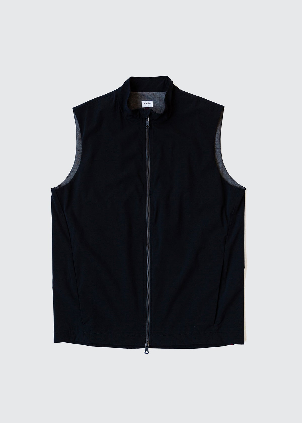303 - QUILTED COLLAR VEST - BLACK