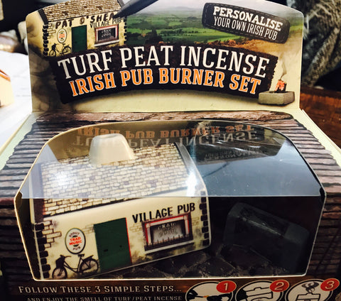 Irish Pub Turf Peat Incense Burner Set