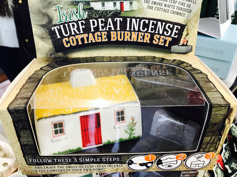 Irish Turf Peat Incense Cottage Burner Set