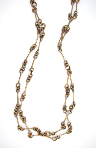 Brass Railroad Chain Link Necklace