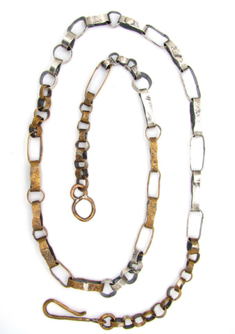 Brass and Silver Wide Link Chain