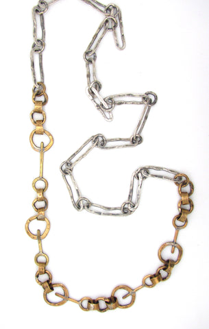 Brass Key Links with Hammered Ovals