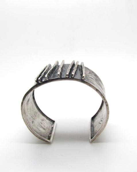 Hammered Lines Silver Cuff Bracelet