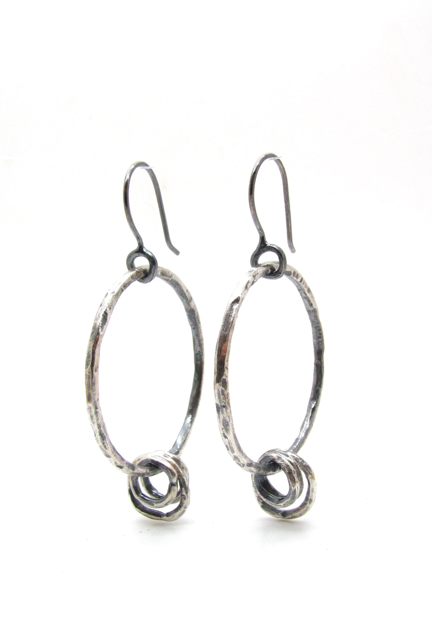 Silver Hoops with Loose Rings