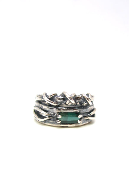 The Embedded Tourmaline and Barbed Wire Ring