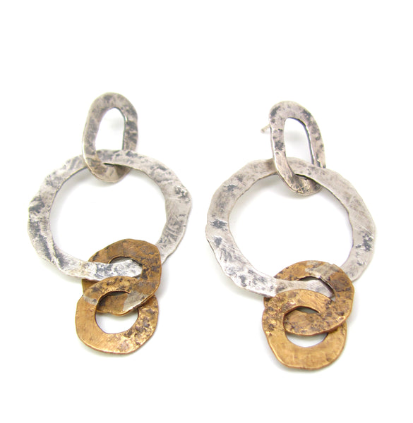 Brass and Silver Round Flattened Links Earrings
