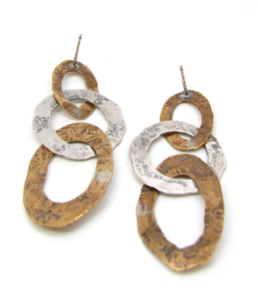 Brass and Silver Oval Flattened Links Earrings