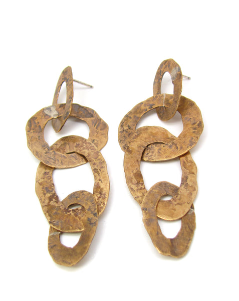 Brass Flattened Links Earrings
