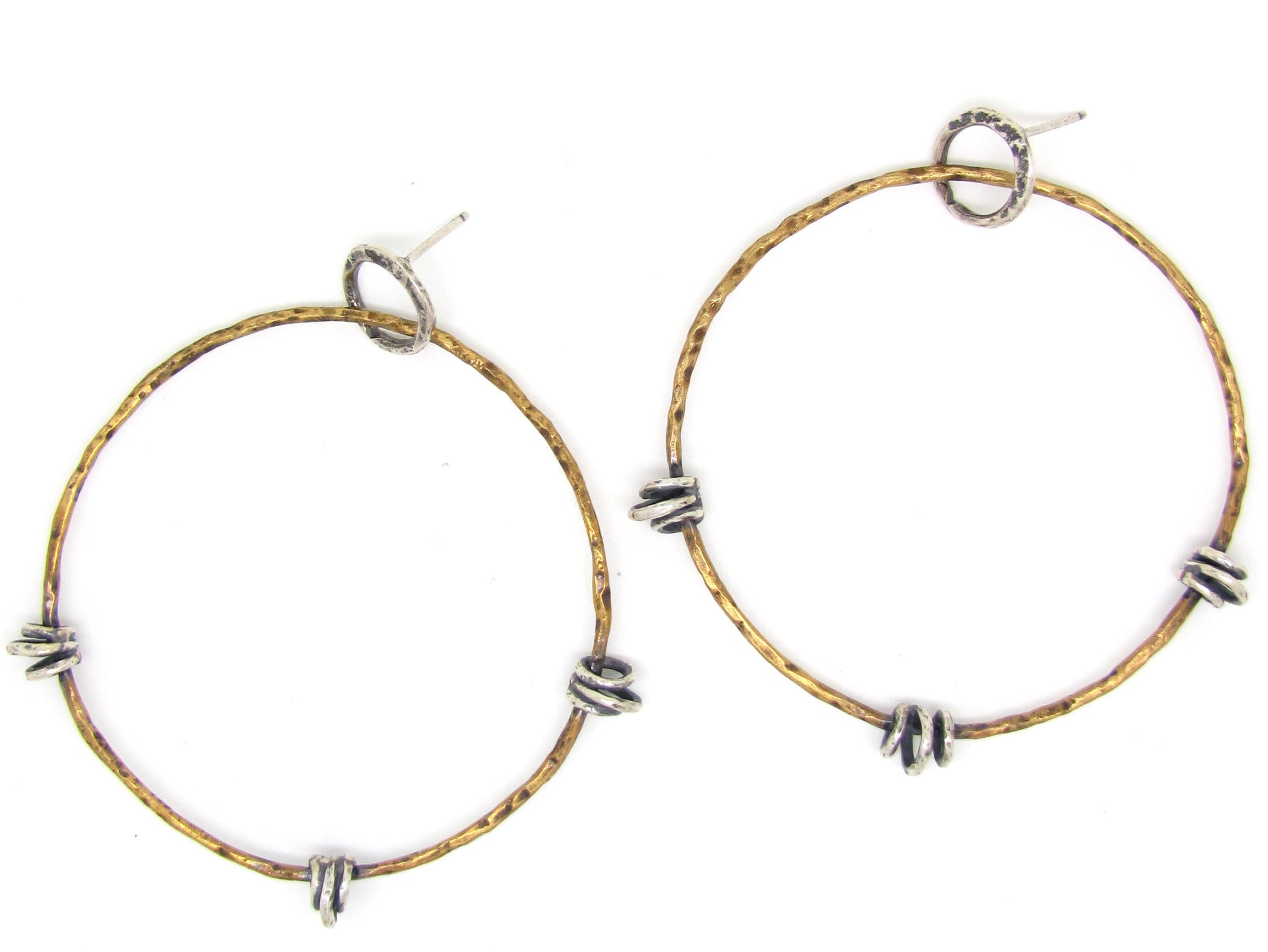 Thin Floating Hoops on Hoops in Brass