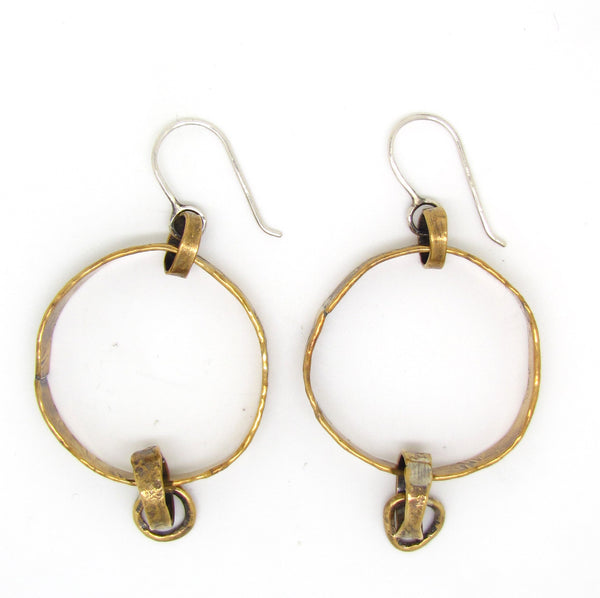 Wide Brass Hoop Drops