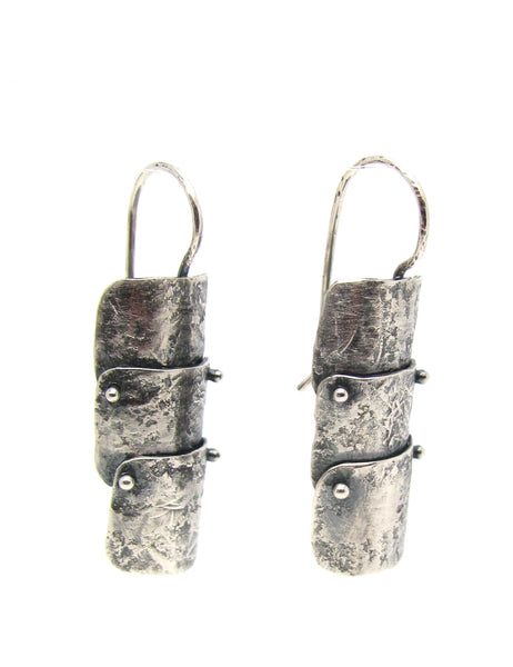 Silver Arthropod Shield Earrings