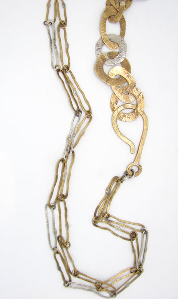 Half and Half Brass and Silver Chain