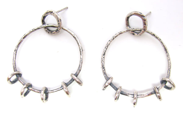 Small Silver Floating Hoops on Hoops