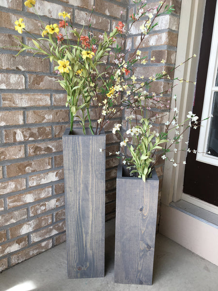large wooden porch vases, welcome sign, reclaimed wood, rustic, floor vases, farmhouse decor, large floor vase,  porch decor, set of 2