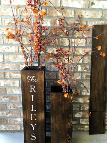 personalized wooden vases, reclaimed wood, rustic, floor vases, set of two, farmhouse decor, large floor vase, rustic decor, porch decor