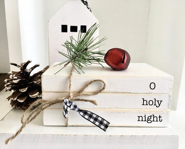 Christmas book bundle, mini book stack, Christmas decor, farmhouse, faux books, set of 3, rustic, teacher gift, housewarming, wooden books