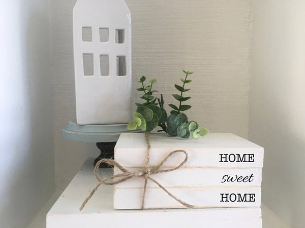 Personalized book bundle, mini book stack, farmhouse decor, faux books, set of 3, kitchen decor, kids names, home sweet home, housewarming