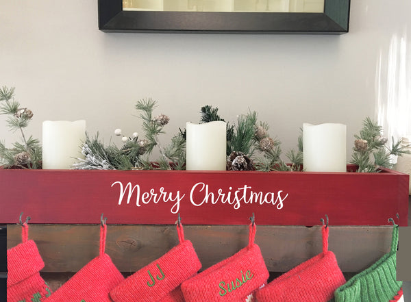 Red stocking holder, mantle, wooden box,  Christmas, modern farmhouse decor, stocking hanger, pet stocking hook, and the stockings were hung