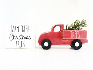 Christmas truck, truck and sign set, Christmas decor, Wooden truck, Farmhouse, Tiered tray, Old truck, Tiered tray sign, farm fresh trees